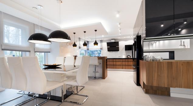 Biało czarna kuchnia i drewniane meble kuchenne -> Kuchnia Bialo Czarna Zdjecia
