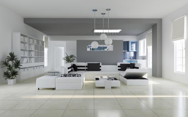 Biały salon - minimalistyczny wystrój wnętrz